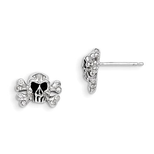 Sterling Silver Madi K Swarovski Elements Skull Post Earrings