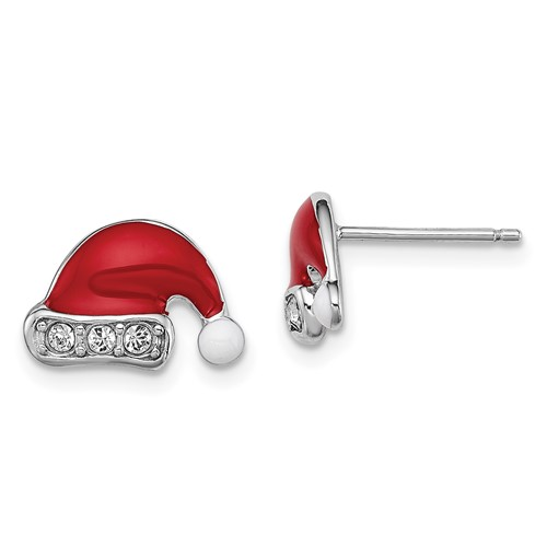 Sterling Silver Madi K Enameled Swarovski  Elements Santa Hat Earrings