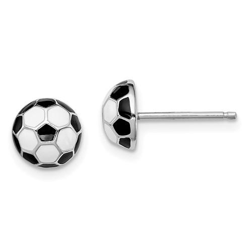 Sterling Silver Madi K Enameled Soccerball Post Earrings