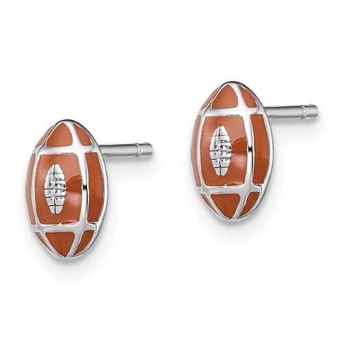 Sterling Silver Madi K Enameled Football Post Earrings