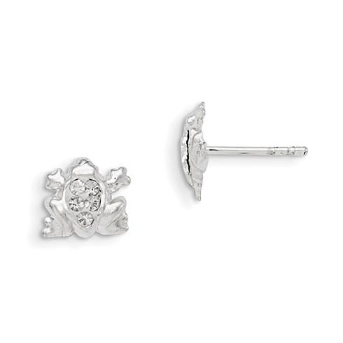 Sterling Silver Madi K Stellux Crystal Frog Post Earrings