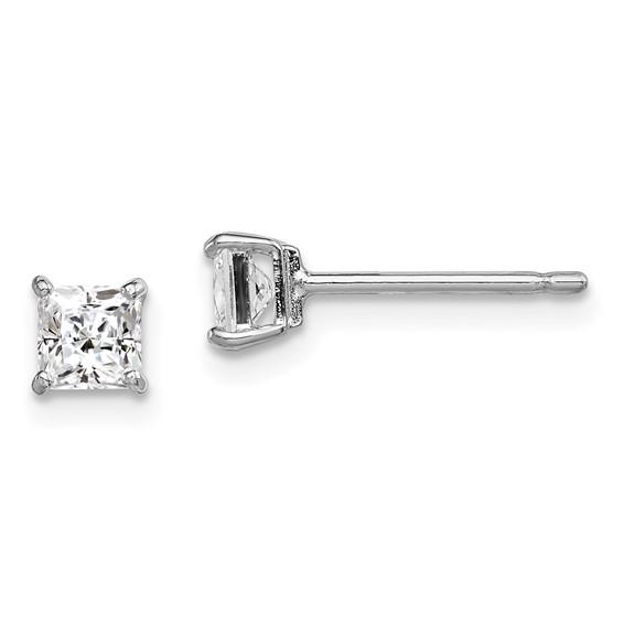 Sterling Silver Madi K 4mm Square CZ Basket Set Stud Earrings