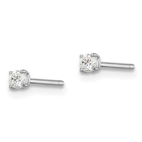 Sterling Silver Madi K 2.5mm Round Basket Set CZ Stud Earrings