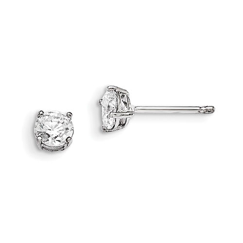 Sterling Silver Madi K 5mm Round Basket Set CZ Stud Earrings