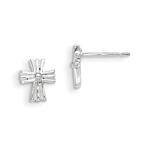Sterling Silver 3/8in Madi K Cross Post Earrings