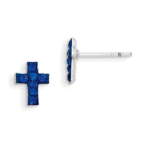 Sterling Silver Madi K Blue Stellux Crystal Cross Post Earrings