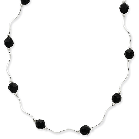 16in Black Crystal Necklace - Sterling Silver