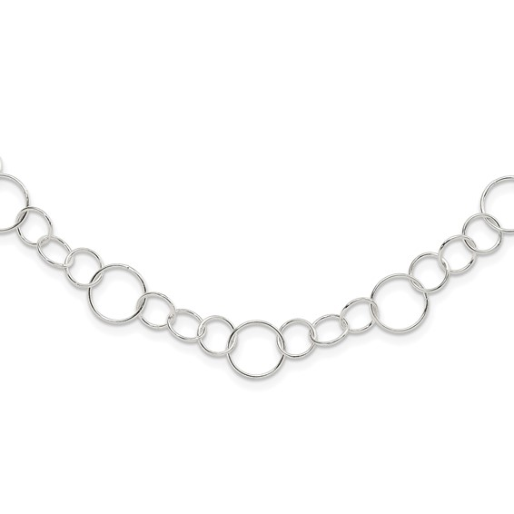 Sterling Silver Fancy Link Necklace 42in