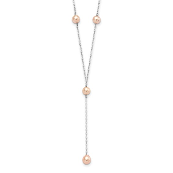 16in Sterling Silver Pink Cultured Pearl Necklace
