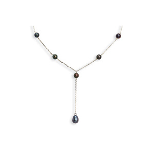 16in Sterling Silver Peacock Cultured Pearl Necklace