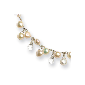 Sterling Silver 16in Cultured Button Pearl Crystal Necklace