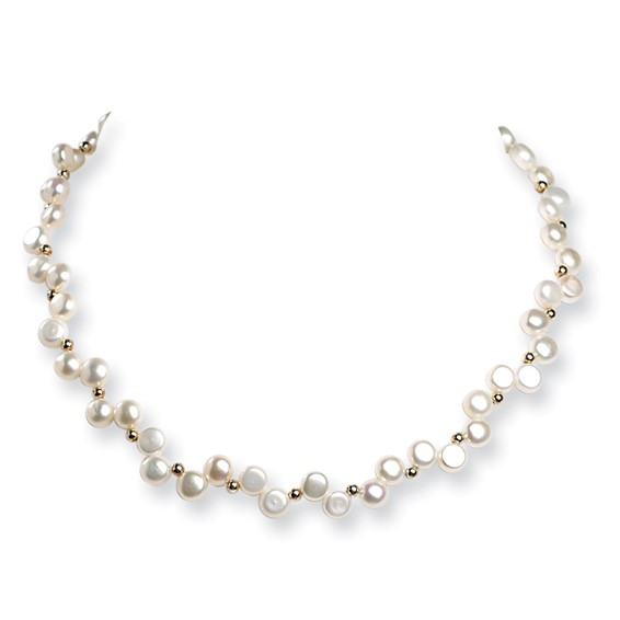 Sterling Silver White Freshwater Cultured Button Pearl Choker Necklace