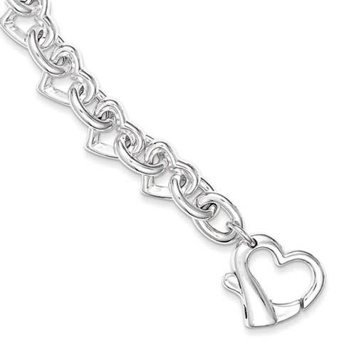 7 1/2in Polished Heart Link Bracelet - Sterling Silver