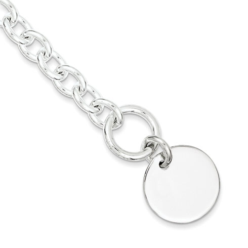 7.5in Engravable Disc with Link Bracelet - Sterling Silver