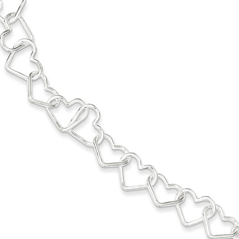 7in Italian Large Heart Link Bracelet