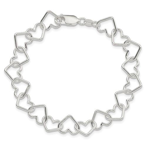 7in Italian Large Heart Link Bracelet
