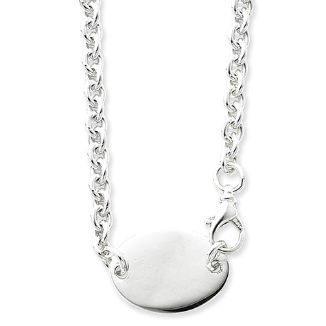 Sterling Silver 18in Engravable Oval Disc Necklace