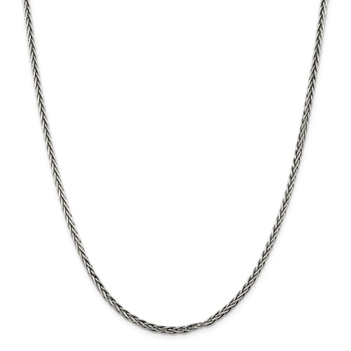 Sterling Silver 18in Antiqued Square Spiga Chain 3.25mm