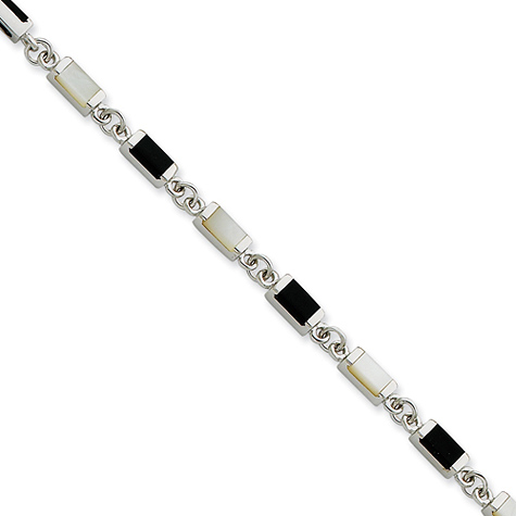 7in Onyx & Mother Of Pearl Bracelet