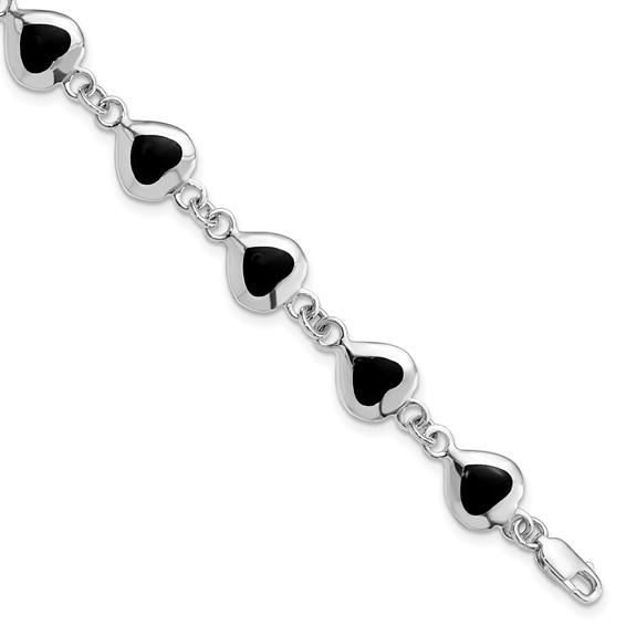 7in Heart Onyx Bracelet - Sterling Silver