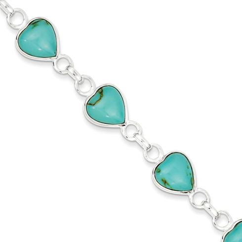 7in Polished Heart-shaped Turquoise Bracelet