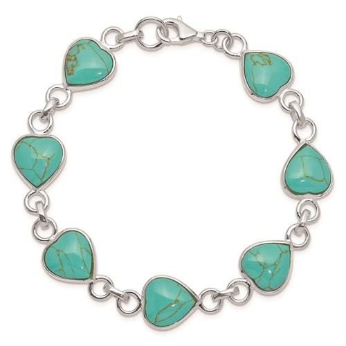 7in Polished Heart-shaped Turquoise Bracelet