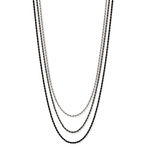 Sterling Silver Three Strand 16 1/4in Necklace