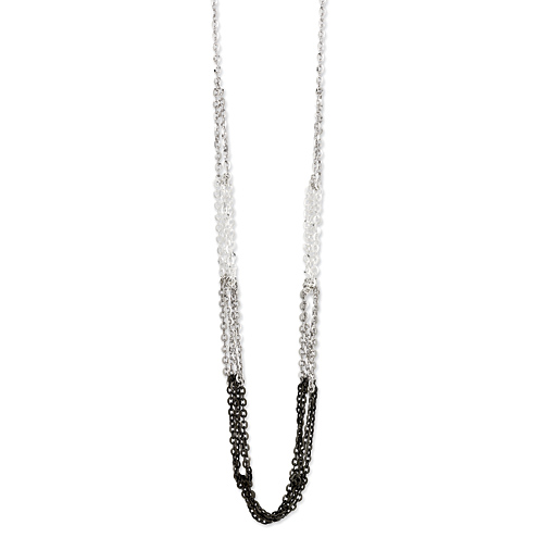 Sterling Silver Tri-Color 16in Necklace