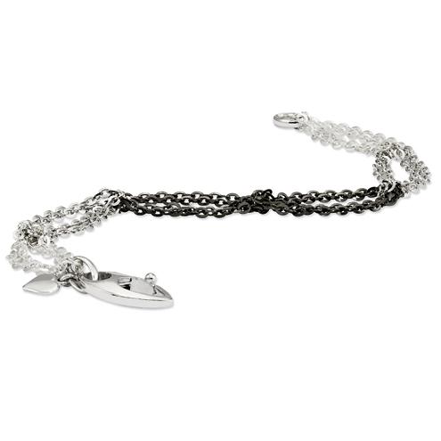 Sterling Silver Tri-Color 7 1/2in Bracelet