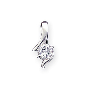 Sterling Silver CZ Pendant with 18in Snake Chain