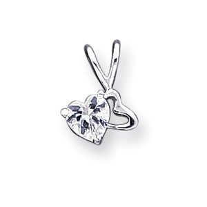 Sterling Silver Heart CZ Pendant and 18in Necklace