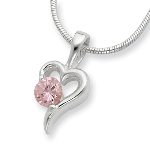 18in Pink CZ Neckace -  Sterling Silver