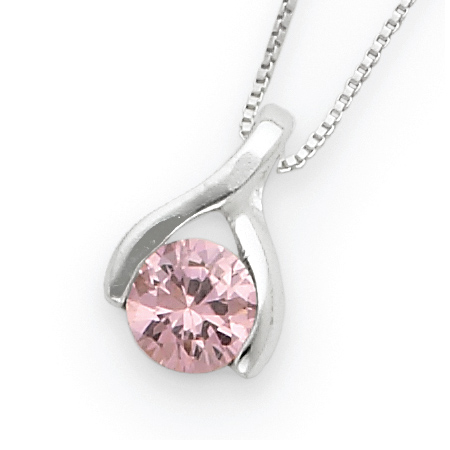 18in Sterling Silver Pink Cubic Zirconia Necklace