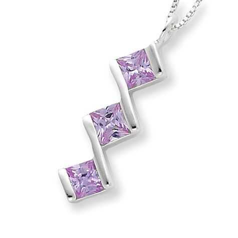 18in Purple CZ Necklace - Sterling Silver