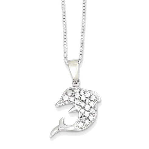 Sterling Silver Cubic Zirconia Dolphin 16in Necklace