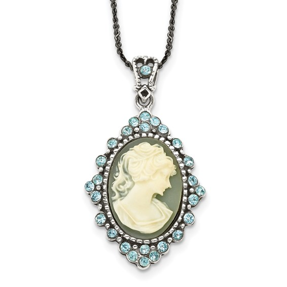 Sterling Silver Blue Crystal Cameo 16in Necklace