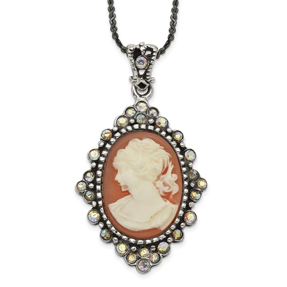 Sterling Silver 16in Crystal Cameo Necklace