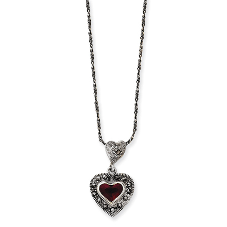 Sterling Silver Marcasite Heart 16in Necklace