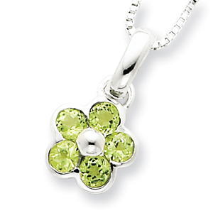 Peridot Pendant with 16in Chain - Sterling Silver