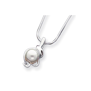 16in Sterling Silver Simulated Pearl Pendant on Snake Chain
