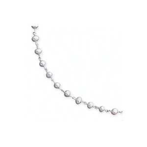 16in Sterling Silver White Cultured Pearl Necklace