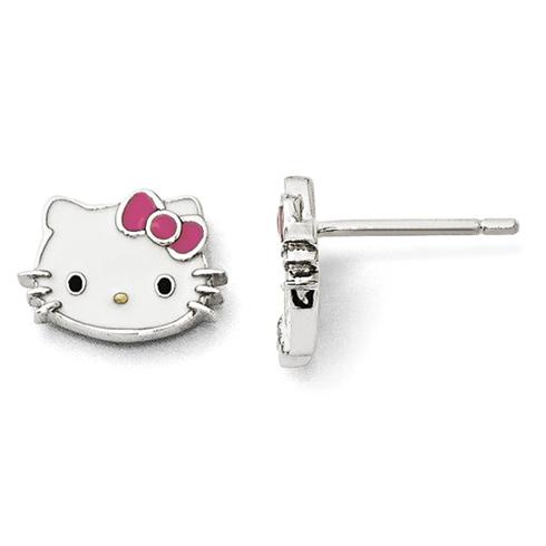 Sterling Silver Hello Kitty Enamel Post Earrings