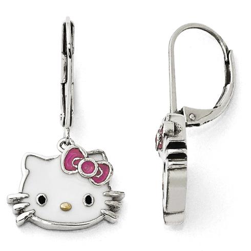 Sterling Silver Hello Kitty Enamel Leverback Earrings