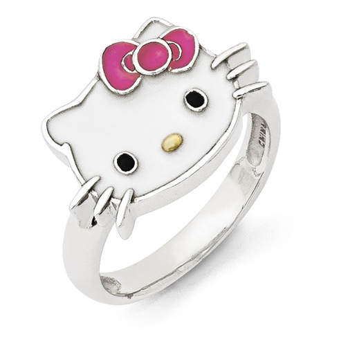 Sterling Silver Hello Kitty Ring with Enamel