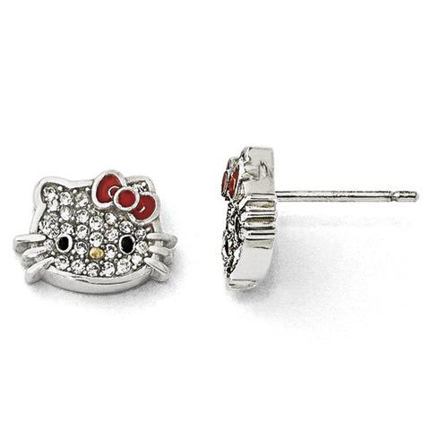 Sterling Silver Hello Kitty Crystal Post Earrings