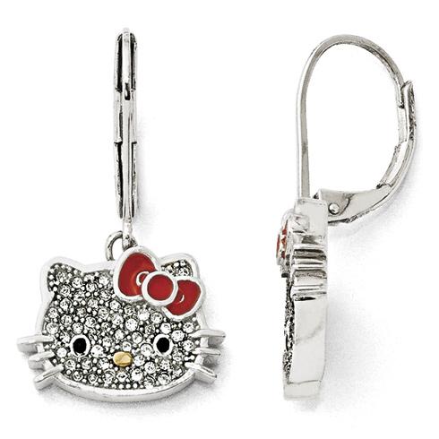 Sterling Silver Hello Kitty Crystal Leverback Earrings
