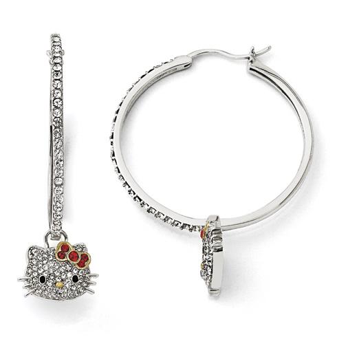 Sterling Silver Hello Kitty Crystal Hoop Earrings