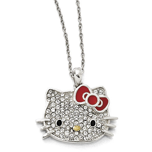 Gold-plated Sterling Silver Large Hello Kitty Necklace with Crystals