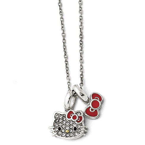 Gold-plated Sterling Silver Hello Kitty Necklace with Crystals