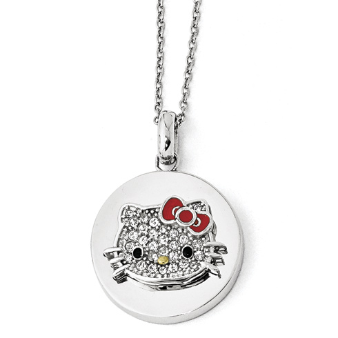 Gold-plated Sterling Silver Round Hello Kitty Necklace with Crystals